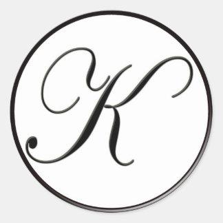 Elegant Black and White Monogram K Round Sticker