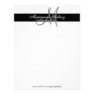 Elegant Black and White Monogram Letterhead