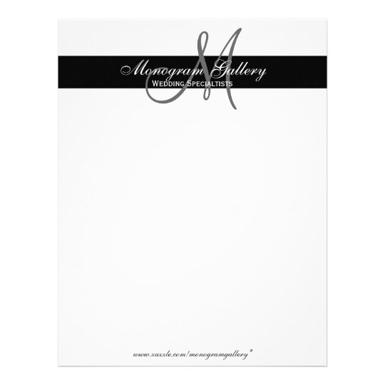 Elegant Professional Corporate Letterhead Template 000890: Elegant Black And White Monogram Letterhead