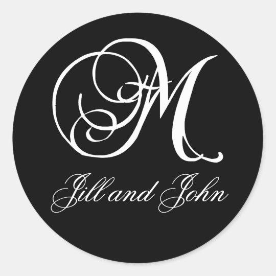 Elegant Black and White Monogram M Names Stickers