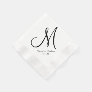 Elegant Black and White Monogram Paper Napkin