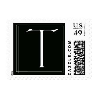 Elegant Black and White monogram T Postage