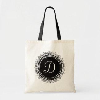 Elegant Black and White Monogram Tote Bag