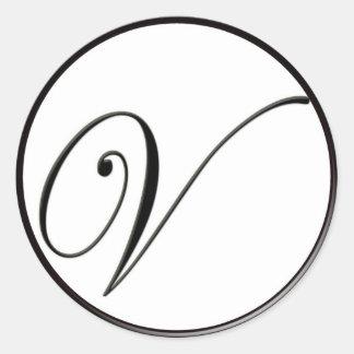 Elegant Black and White Monogram V Classic Round Sticker