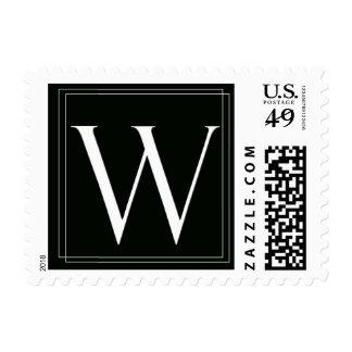 Elegant Black and White monogram W Postage