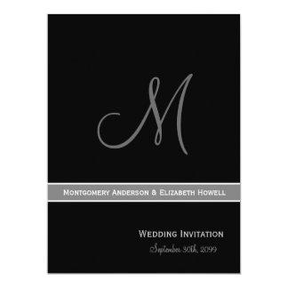 Elegant Black and White Monogram Wedding Card