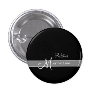 Elegant Black and White Monogram Wedding ID Pinback Button