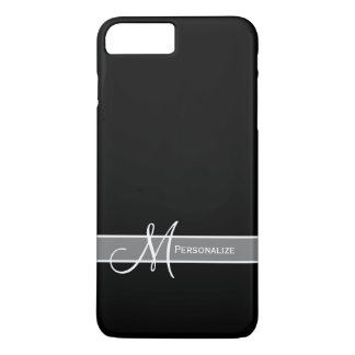 Elegant Black and White Monogram With Name iPhone 7 Plus Case