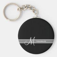Elegant Black and White Monogram With Name Key Chains