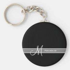Elegant Black and White Monogram With Name Keychain