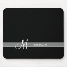 Elegant Black And White Monogram With Name Mouse Pad at Zazzle