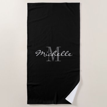 Beach Themed Elegant black and white monogrammed beach towel