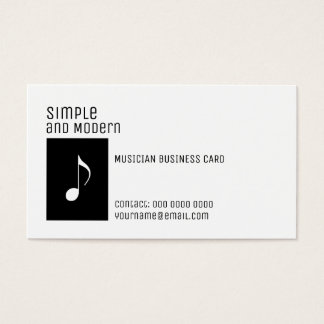 elegant black and white musical note business card