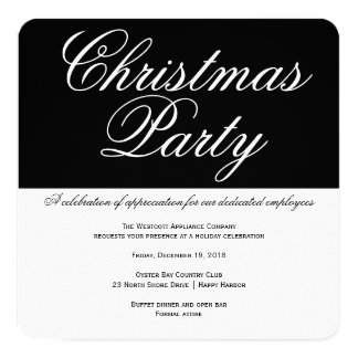 Elegant Black and White Office Christmas Party 5.25x5.25 Square Paper Invitation Card