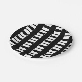 Elegant Black and White Pattern Paper Plate