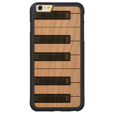 Elegant Black and White Piano Keys Pattern Carved® Cherry iPhone 6 Plus Bumper Case