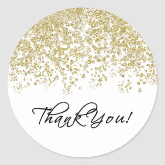 Elegant Black and White Polka-Dots Thank You! Classic Round Sticker