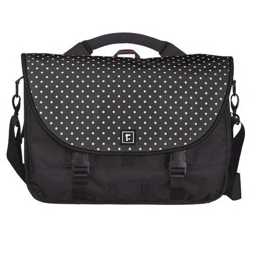 Elegant black and white polka pin dot dots pattern computer bag