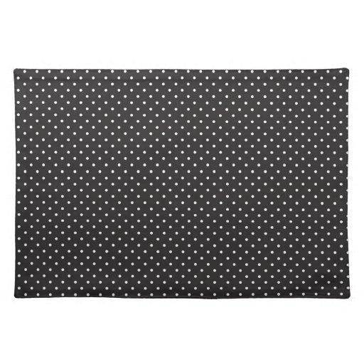 elegant black and white polka pin dot dots pattern placemat zazzle. Black Bedroom Furniture Sets. Home Design Ideas