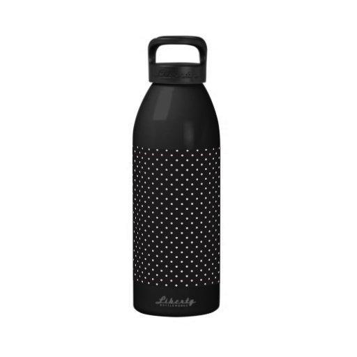 Elegant black and white polka pin dot dots pattern drinking bottle