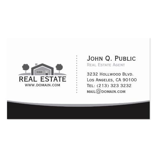 Elegant Black and White Real Estate Business Card