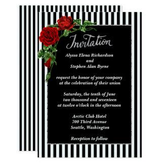 Elegant Black and White Red Rose Wedding Invitatio Card