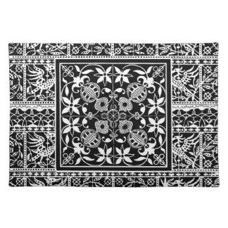 Elegant Black and White Renaissance Lace Placemat