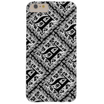 Elegant Black and White Renaissance Monogram A Barely There iPhone 6 Plus Case
