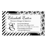 Elegant Black and White Retro Stripes and Damask Business Card