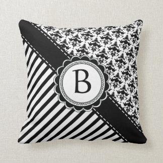 Elegant Black and White Retro Stripes and Damask Throw Pillow