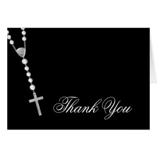 Elegant Black and White Rosary Thank You Greeting Cards