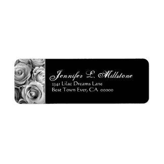 Elegant Black and White Roses Address Label