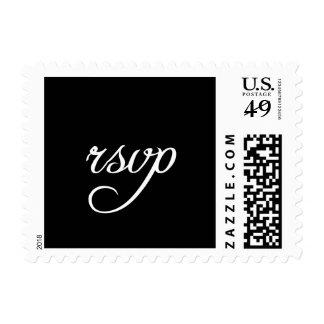 Elegant Black and White RSVP Postage Stamps