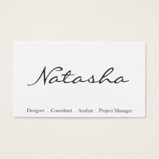 Elegant Black and White Script Font Business Card