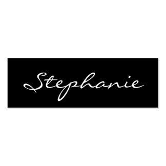 Elegant Black and White Script Font Profile Card Business Card Template