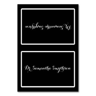 Elegant Black and White Script Tented Seating Table Cards