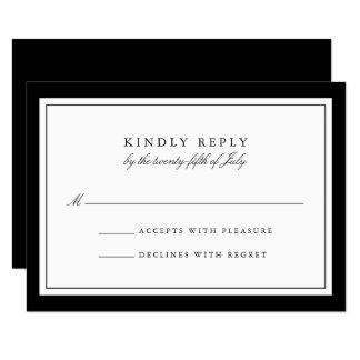 Elegant Black and White Simple Border Wedding RSVP