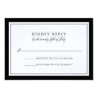 Captivating Elegant Black And White Simple Border Wedding RSVP Card