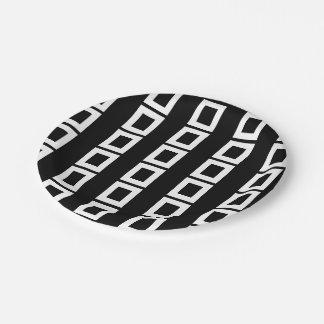 Elegant Black and White Squares Pattern Paper Plate