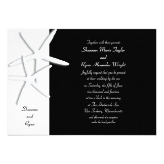 Elegant Black and White Starfish Wedding Invite