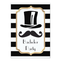 Elegant Black and White Stripe Bachelor Party Card