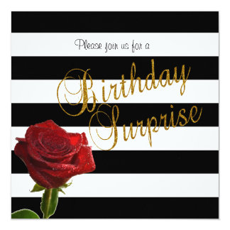 Elegant Black and White Stripes and Red Roses Card