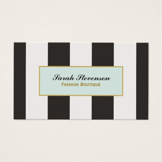Elegant black and white stripes fashion boutique business for Business card for clothing boutique