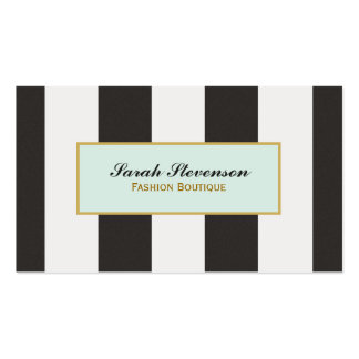 Elegant Black and White Stripes Fashion Boutique Double-Sided Standard Business Cards (Pack Of 100)