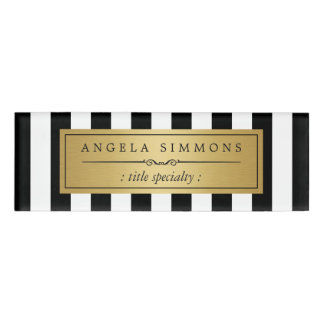 Elegant Black and White Stripes Gold Name Label Name Tag