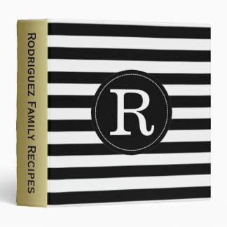 Elegant Black And White Stripes. Initial Monogram Binder