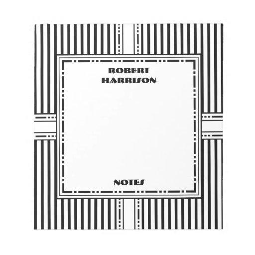 Elegant Black and White Stripes Trendy Corporate Scratch Pads