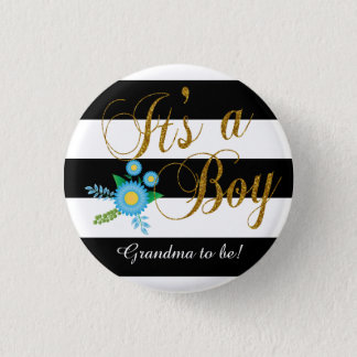 Elegant Black and White Stripes With Blue Floral Button