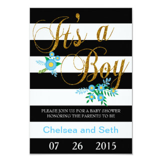 Elegant Black and White Stripes With Blue Floral 3.5x5 Paper Invitation Card