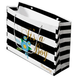 Elegant Black and White Stripes With Blue Floral Large Gift Bag